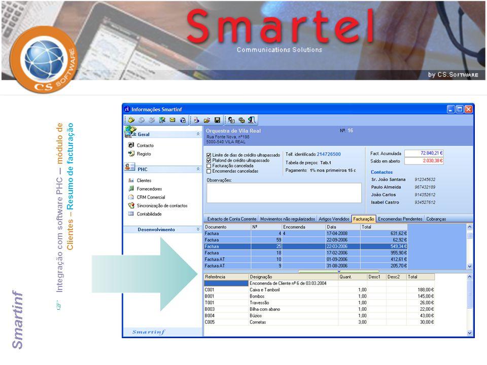 Integração com software PHC – módulo de Clientes – Resumo de facturação