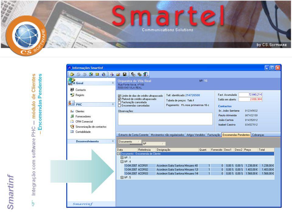 Integração com software PHC – módulo de Clientes – Encomendas Pendentes