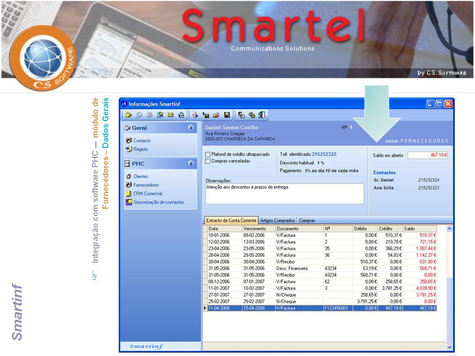 Integração com software PHC – módulo de Fornecedores – Dados Gerais