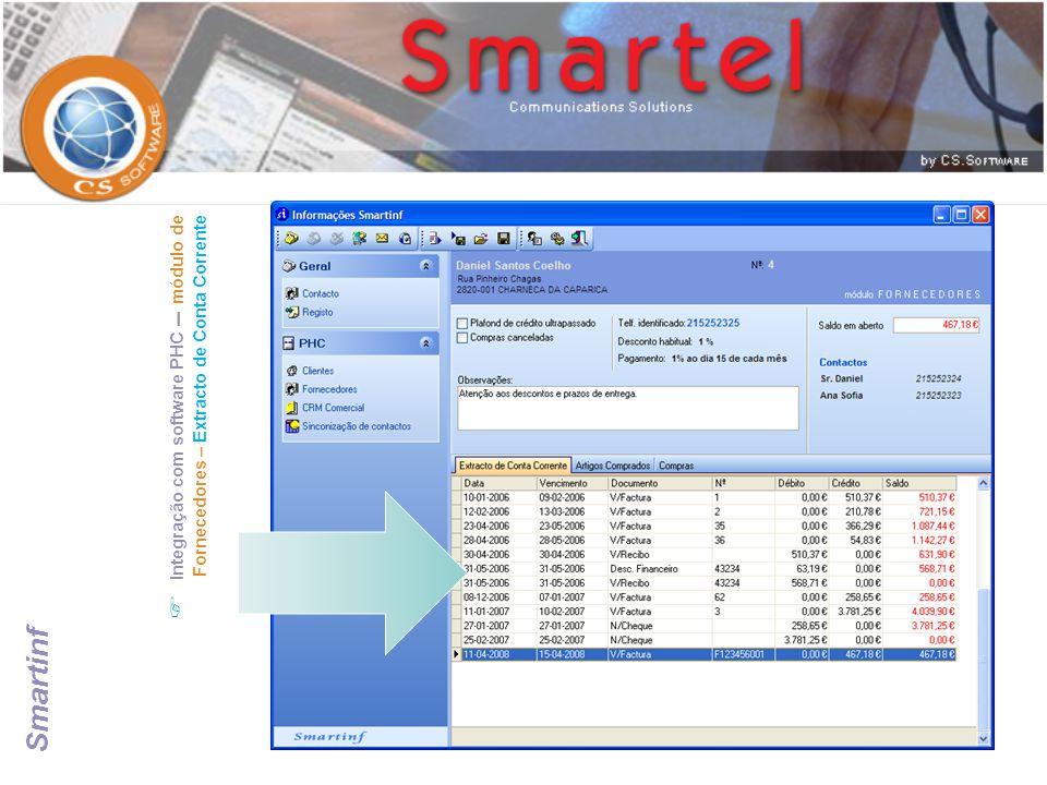 Integração com software PHC – módulo de Fornecedores – Extracto de Conta Corrente