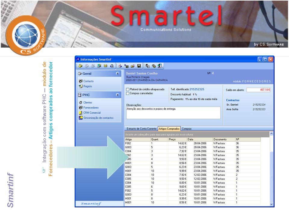 Integração com software PHC – módulo de Fornecedores – Artigos comprados ao fornecedor