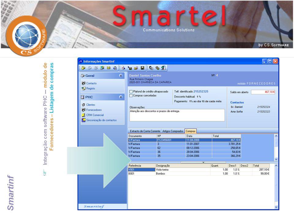 Integração com software PHC – módulo de Fornecedores – Listagem de compras