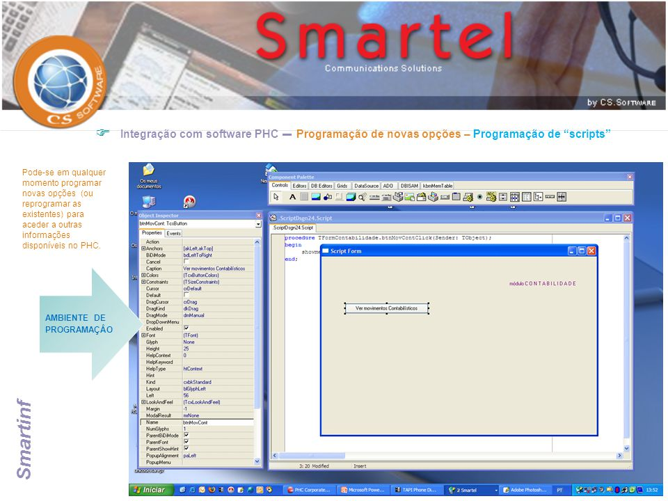 Integração com software PHC – Programação de novas opções – Programação de scripts