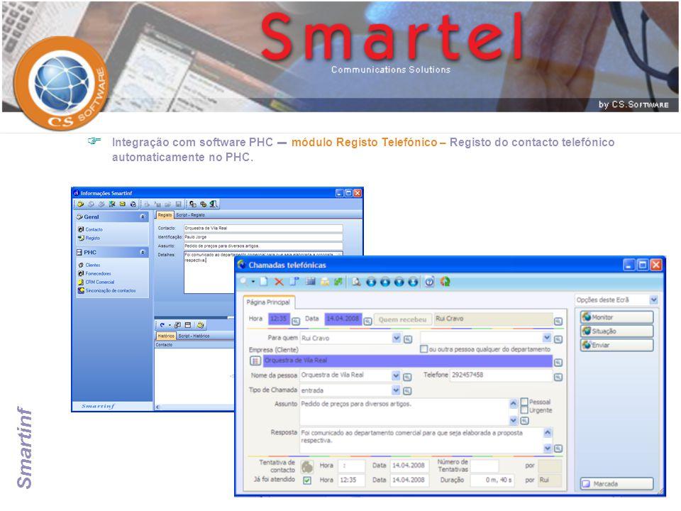 Integração com software PHC – módulo Registo Telefónico – Registo do contacto telefónico automaticamente no PHC.