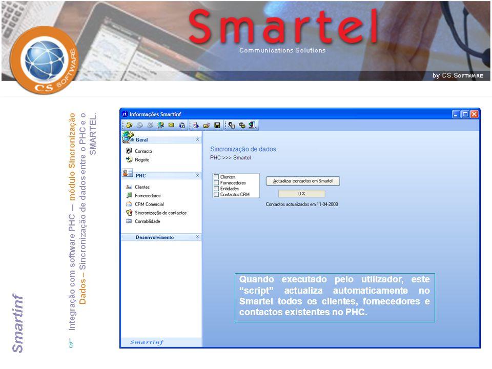 Integração com software PHC – módulo Sincronização Dados – Sincronização de dados entre o PHC e o SMARTEL.