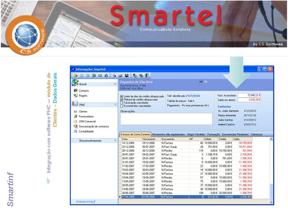 Integração com software PHC – módulo de Clientes – Dados Gerais