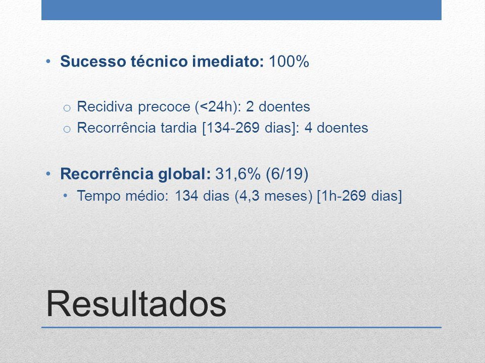 Resultados Sucesso técnico imediato: 100%