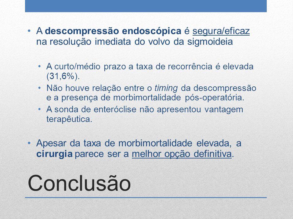 A descompressão endoscópica é segura/eficaz na resolução imediata do volvo da sigmoideia