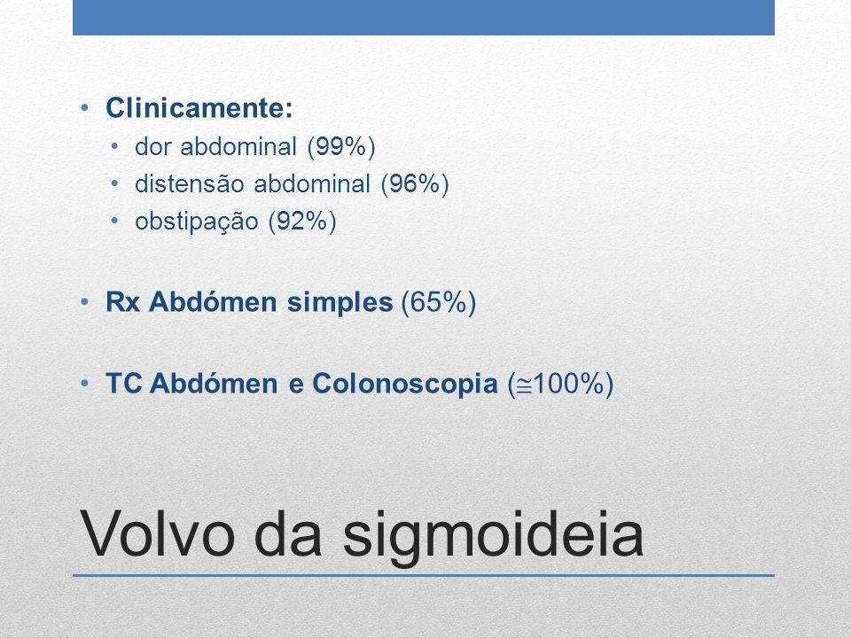 Volvo da sigmoideia Clinicamente: Rx Abdómen simples (65%)