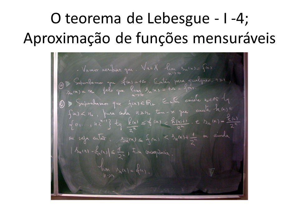 O teorema de Lebesgue - I -4; Aproximação de funções mensuráveis