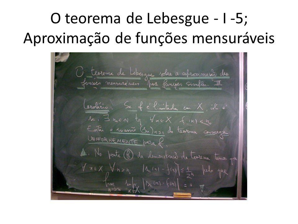 O teorema de Lebesgue - I -5; Aproximação de funções mensuráveis