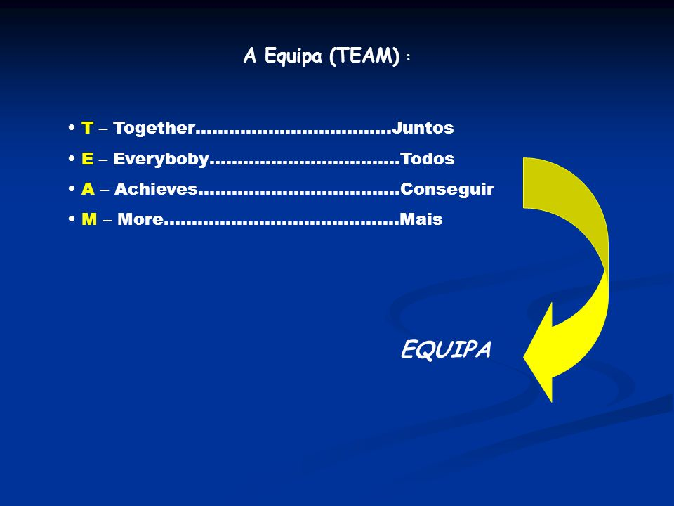 EQUIPA A Equipa (TEAM) : T – Together……………………………..Juntos