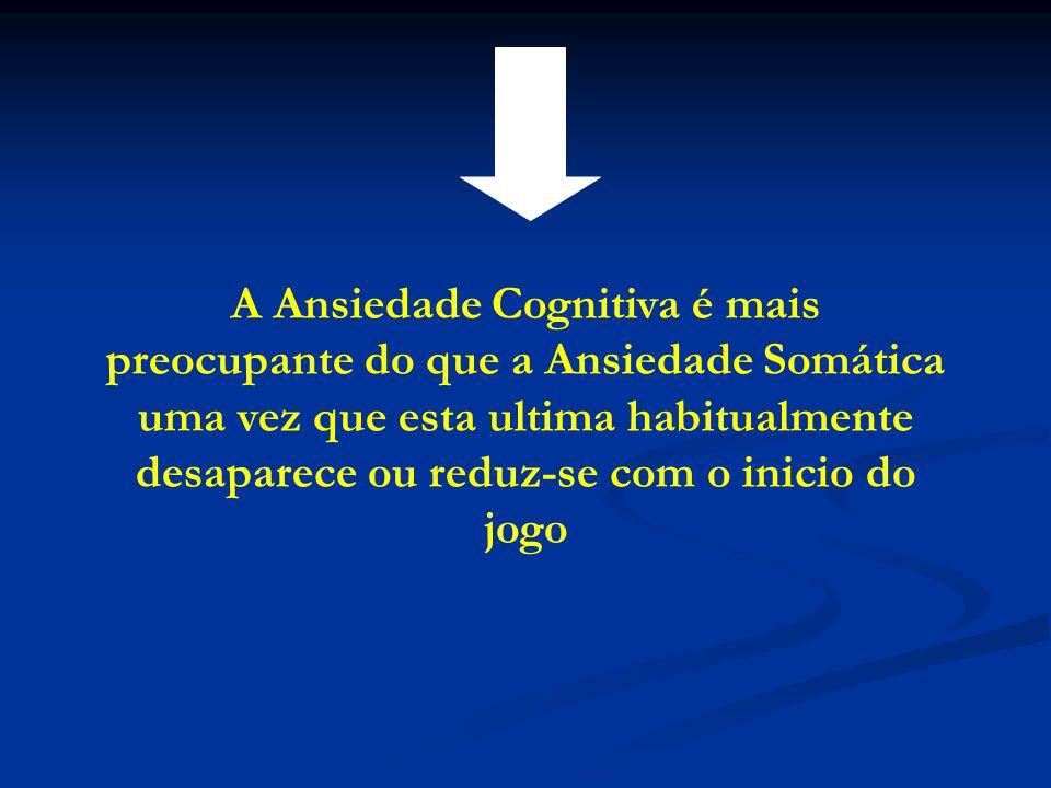 A Ansiedade Cognitiva é mais preocupante do que a Ansiedade Somática uma vez que esta ultima habitualmente desaparece ou reduz-se com o inicio do jogo