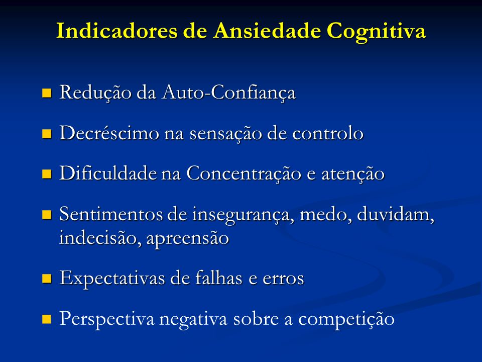 Indicadores de Ansiedade Cognitiva