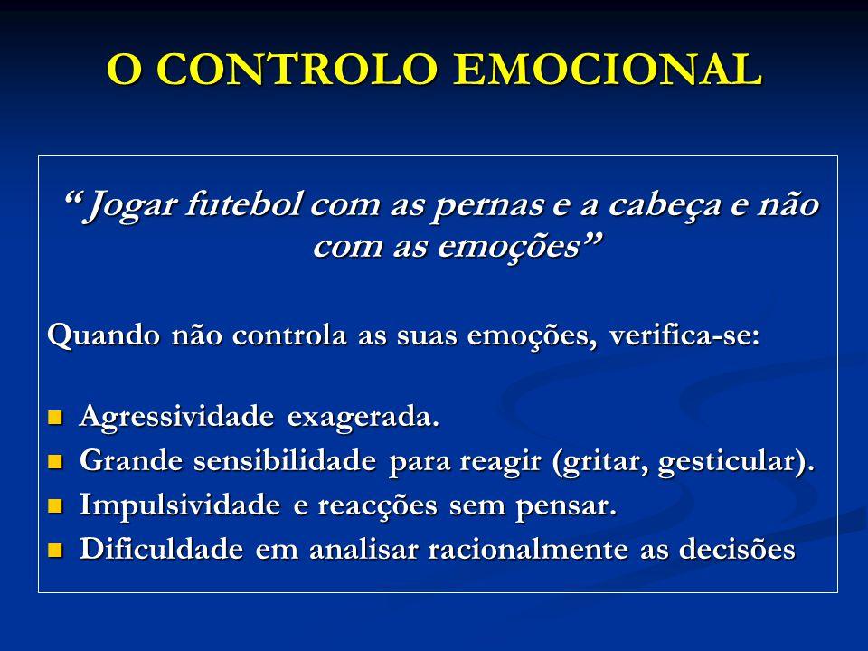 Jogar futebol com as pernas e a cabeça e não com as emoções