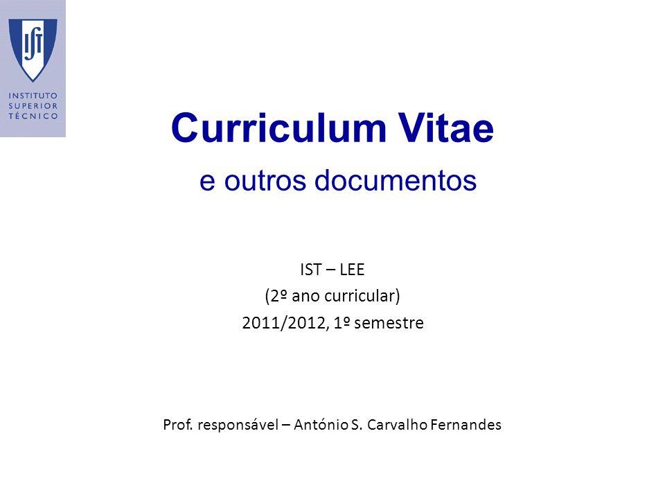 Curriculum Vitae e outros documentos