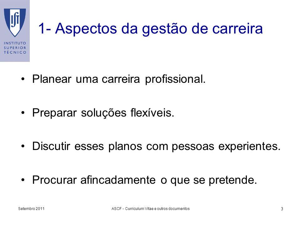 1- Aspectos da gestão de carreira