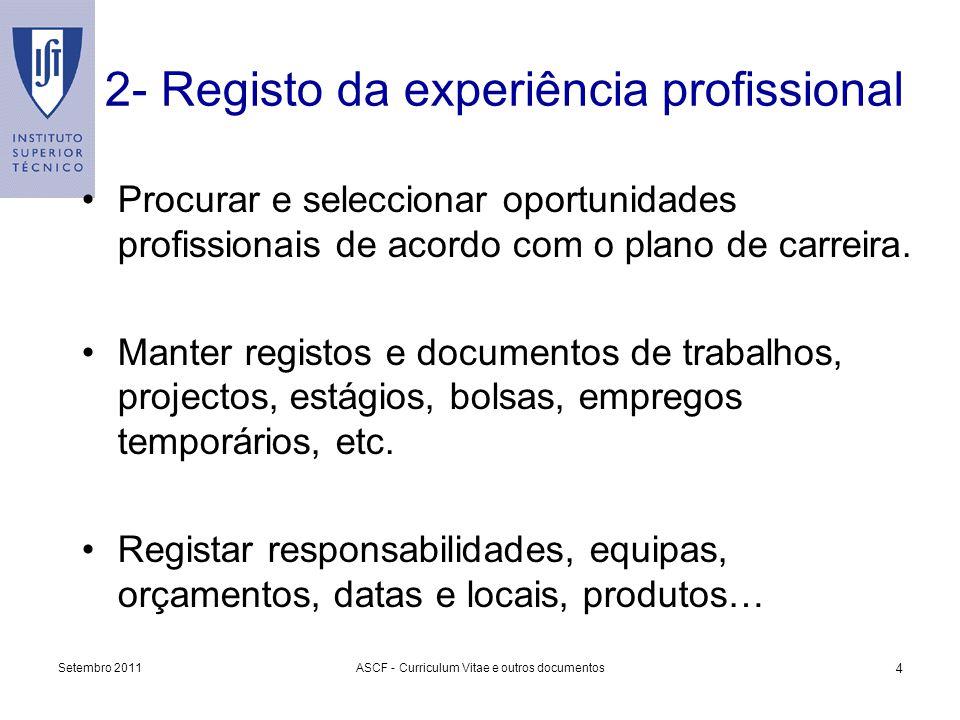 2- Registo da experiência profissional