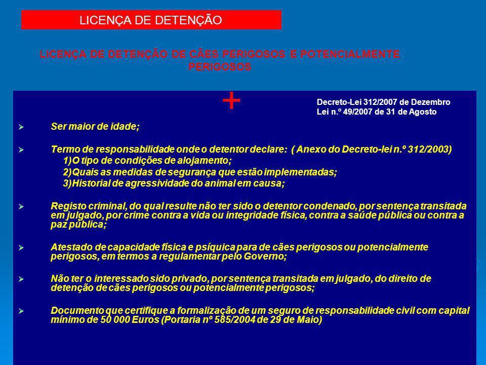 LICENÇA DE DETENÇÃO DE CÃES PERIGOSOS E POTENCIALMENTE PERIGOSOS