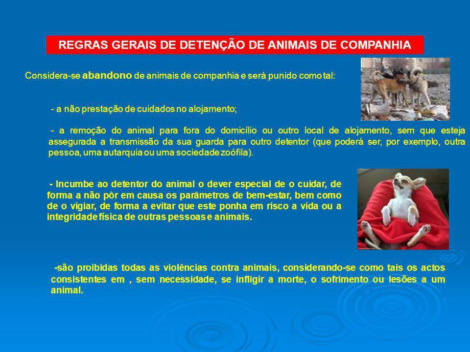 REGRAS GERAIS DE DETENÇÃO DE ANIMAIS DE COMPANHIA