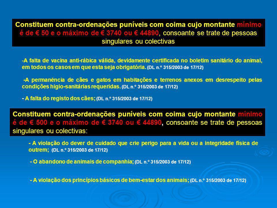 Constituem contra-ordenações puníveis com coima cujo montante mínimo é de € 50 e o máximo de € 3740 ou € 44890, consoante se trate de pessoas singulares ou colectivas