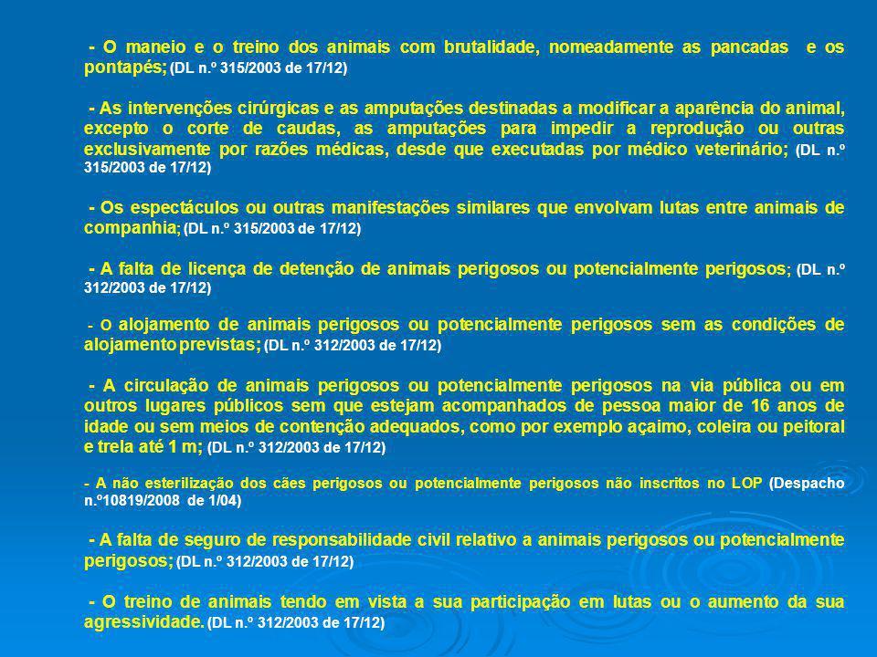 - O maneio e o treino dos animais com brutalidade, nomeadamente as pancadas e os pontapés; (DL n.º 315/2003 de 17/12)