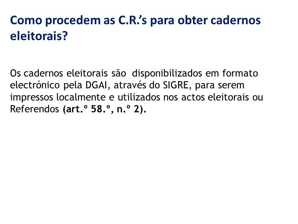 Como procedem as C.R.'s para obter cadernos eleitorais