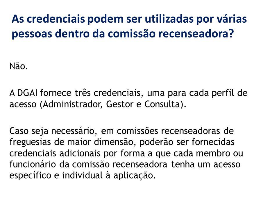 As credenciais podem ser utilizadas por várias pessoas dentro da comissão recenseadora