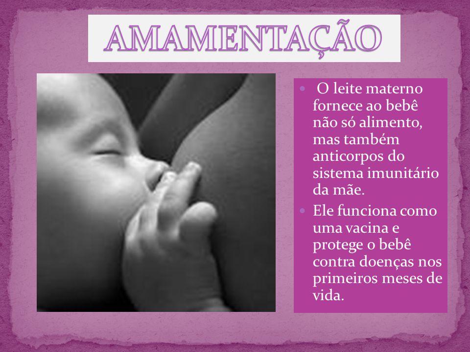 AMAMENTAÇÃO O leite materno fornece ao bebê não só alimento, mas também anticorpos do sistema imunitário da mãe.