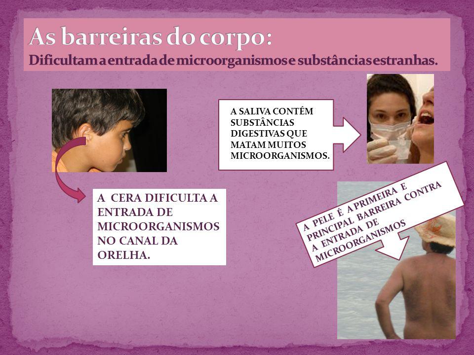 As barreiras do corpo: Dificultam a entrada de microorganismos e substâncias estranhas.