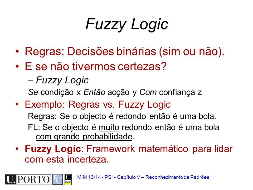 Fuzzy Logic Regras: Decisões binárias (sim ou não).