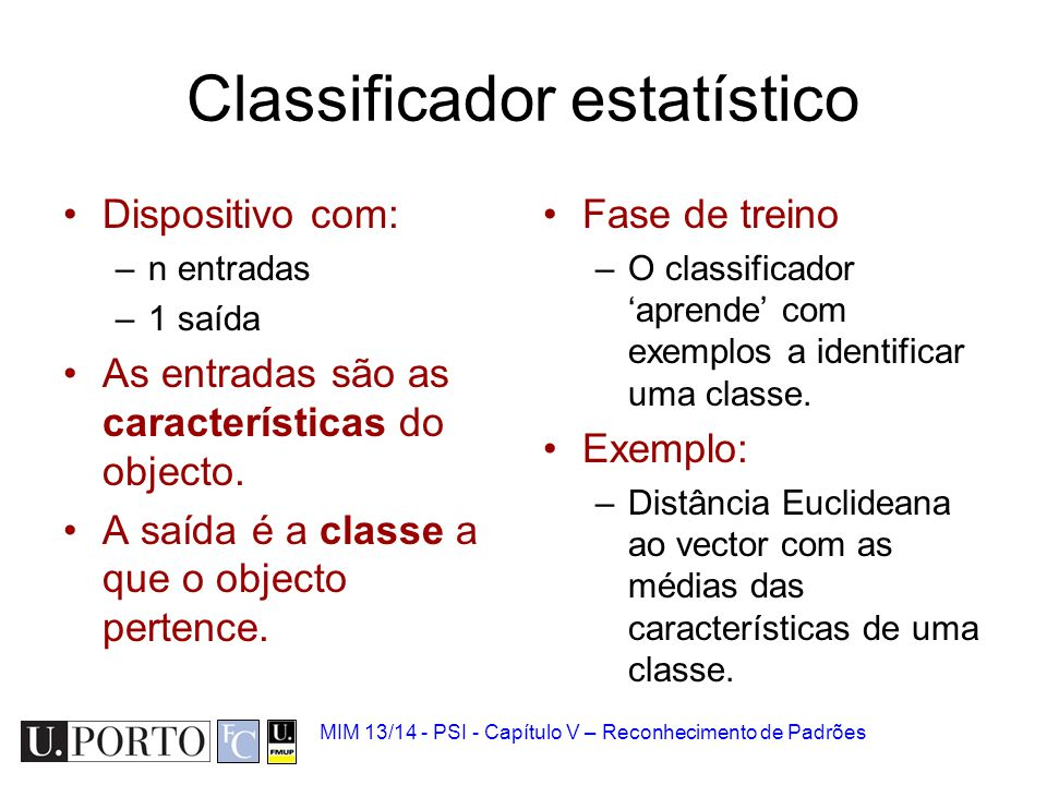 Classificador estatístico