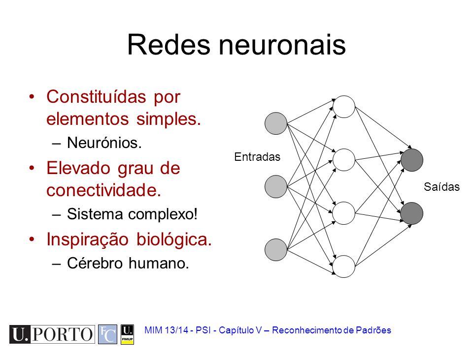 Redes neuronais Constituídas por elementos simples.