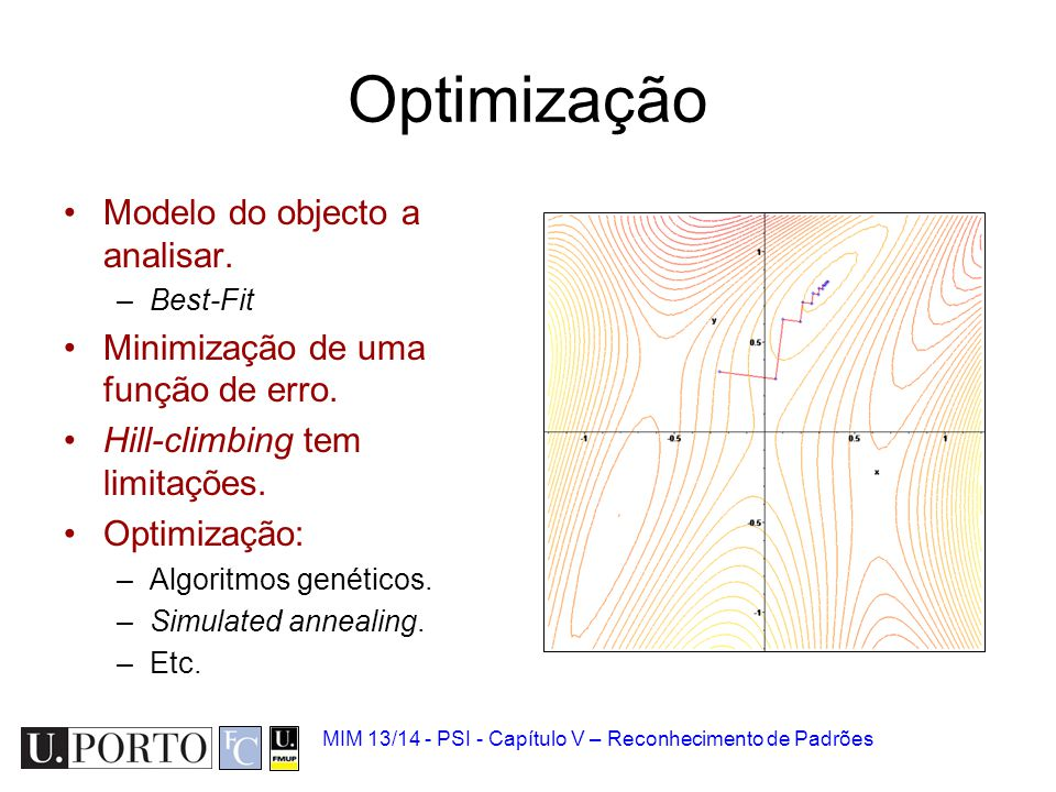 Optimização Modelo do objecto a analisar.