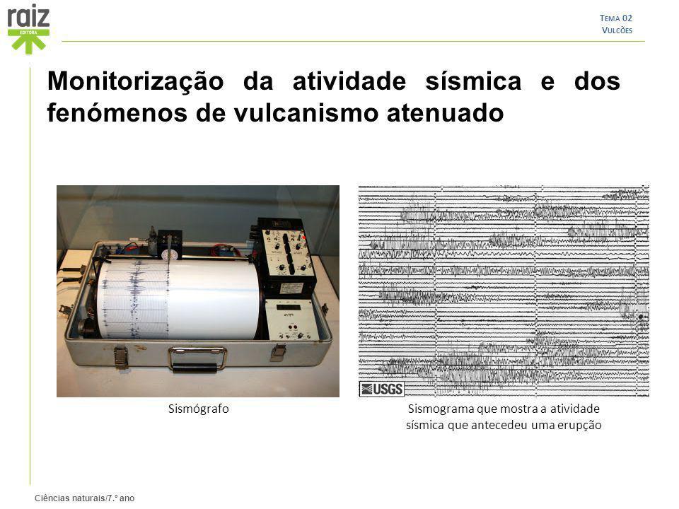 Sismograma que mostra a atividade sísmica que antecedeu uma erupção