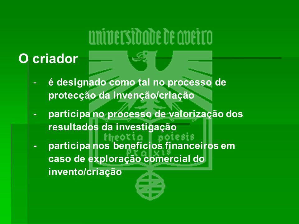 O criador é designado como tal no processo de protecção da invenção/criação. participa no processo de valorização dos resultados da investigação.