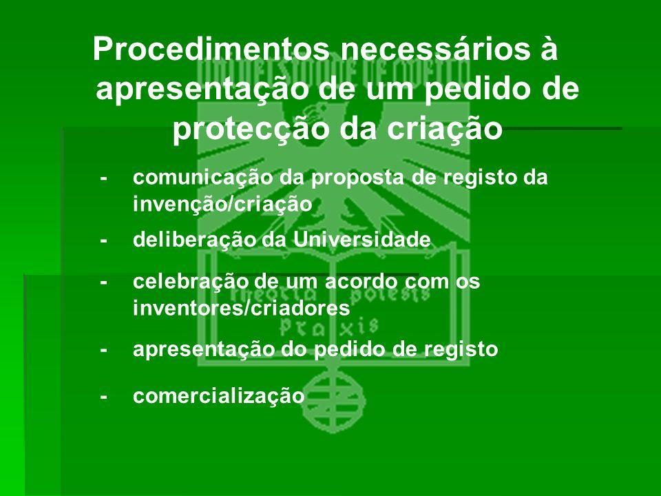 Procedimentos necessários à apresentação de um pedido de protecção da criação