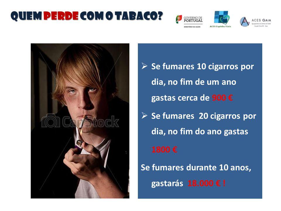QUEM PERDE COM O TABACO Se fumares 10 cigarros por dia, no fim de um ano gastas cerca de 900 €