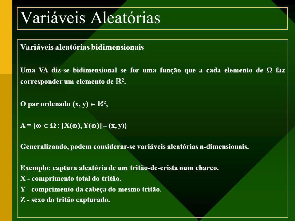 Variáveis Aleatórias Variáveis aleatórias bidimensionais