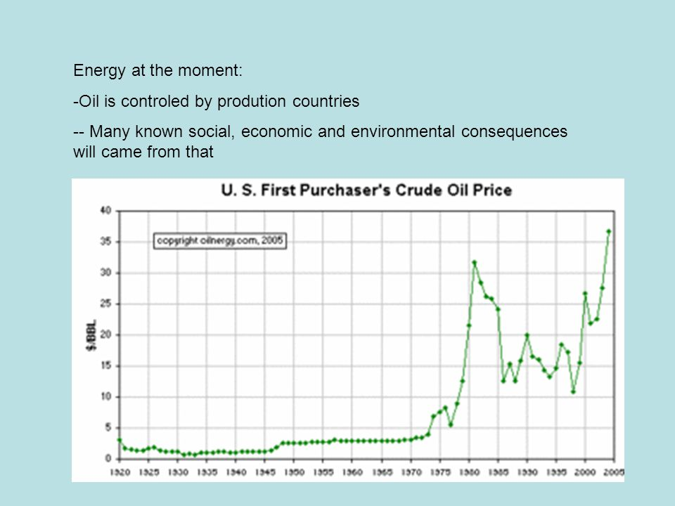 Energy at the moment: Oil is controled by prodution countries.
