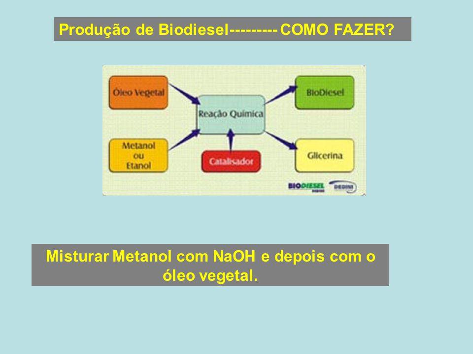 Misturar Metanol com NaOH e depois com o óleo vegetal.