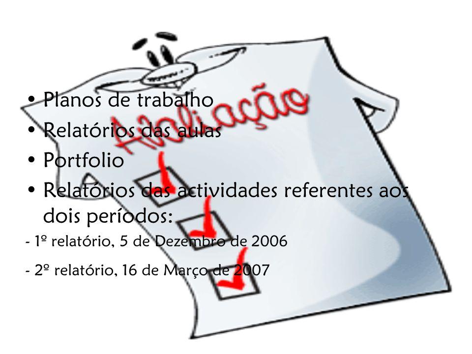 Relatórios das actividades referentes aos dois períodos: