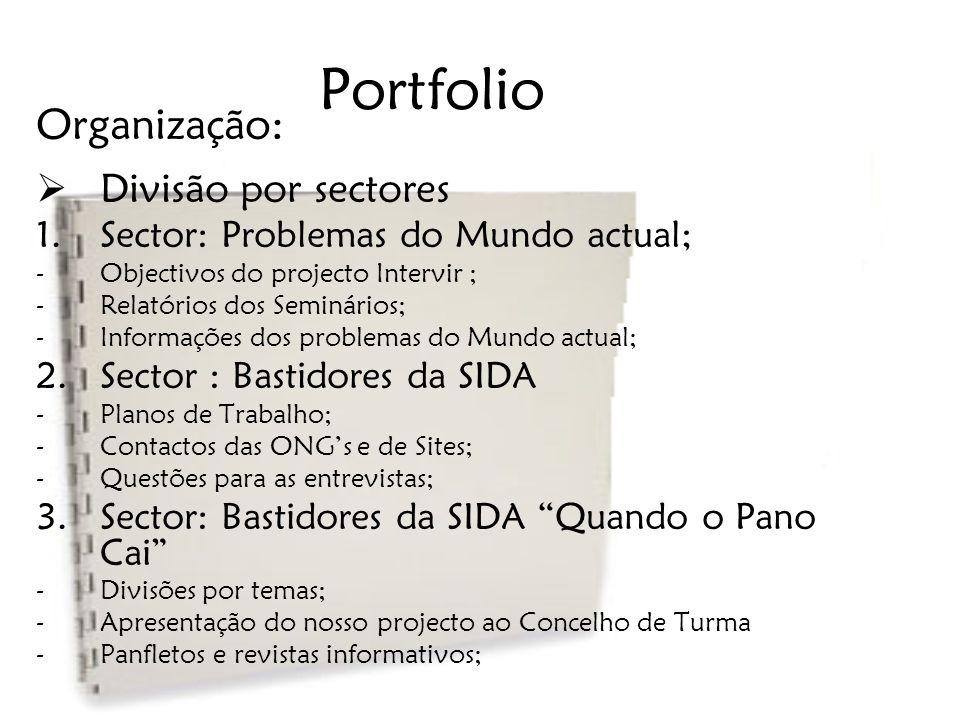 Portfolio Organização: Divisão por sectores