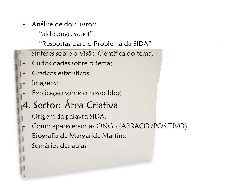 4. Sector: Área Criativa Análise de dois livros: aidscongress.net