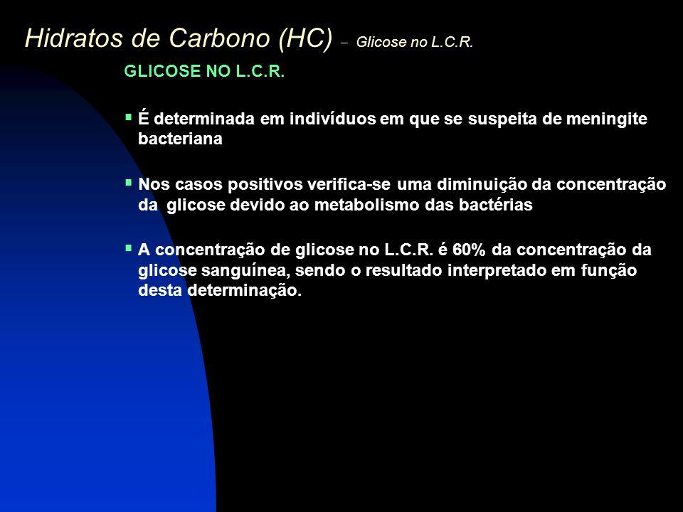 Hidratos de Carbono (HC) – Glicose no L.C.R.