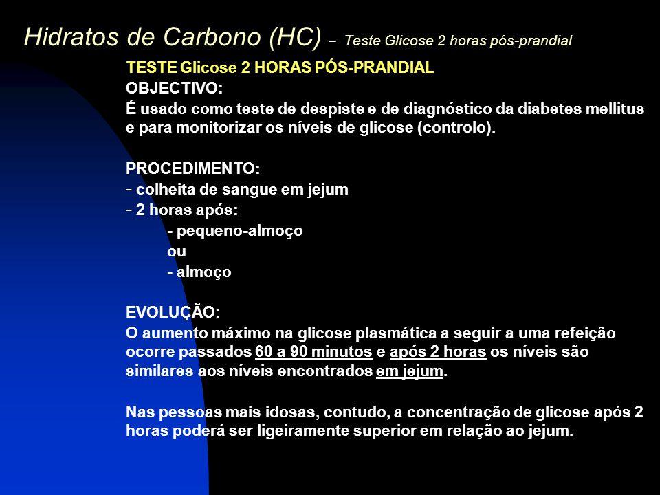 Hidratos de Carbono (HC) – Teste Glicose 2 horas pós-prandial