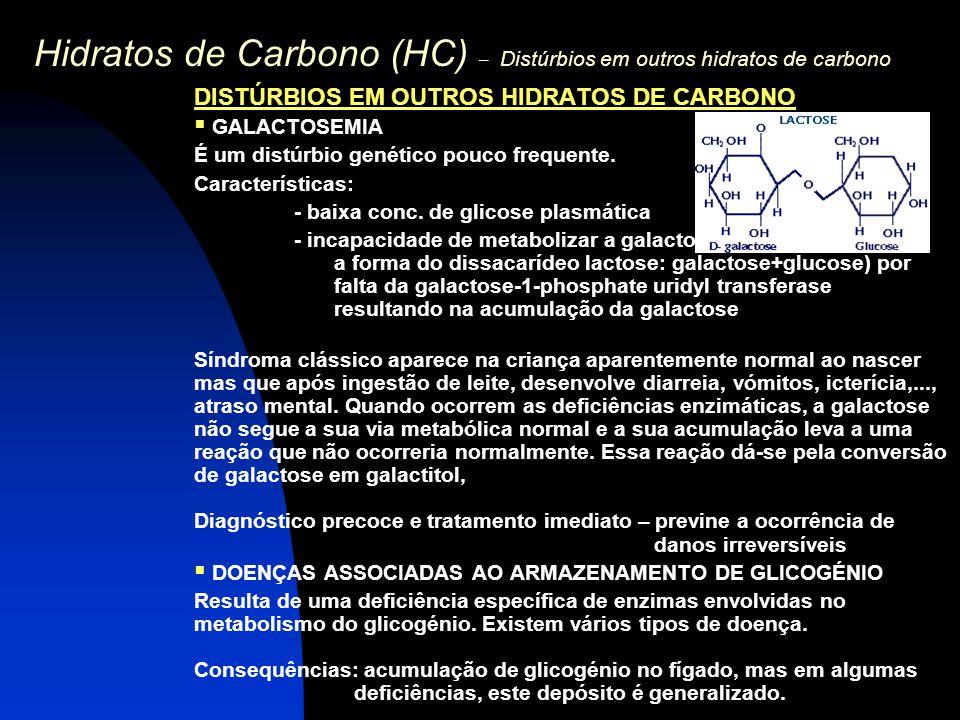 Hidratos de Carbono (HC) – Distúrbios em outros hidratos de carbono