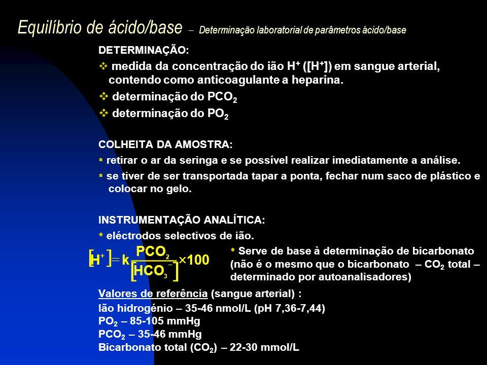 Equilíbrio de ácido/base – Determinação laboratorial de parâmetros ácido/base