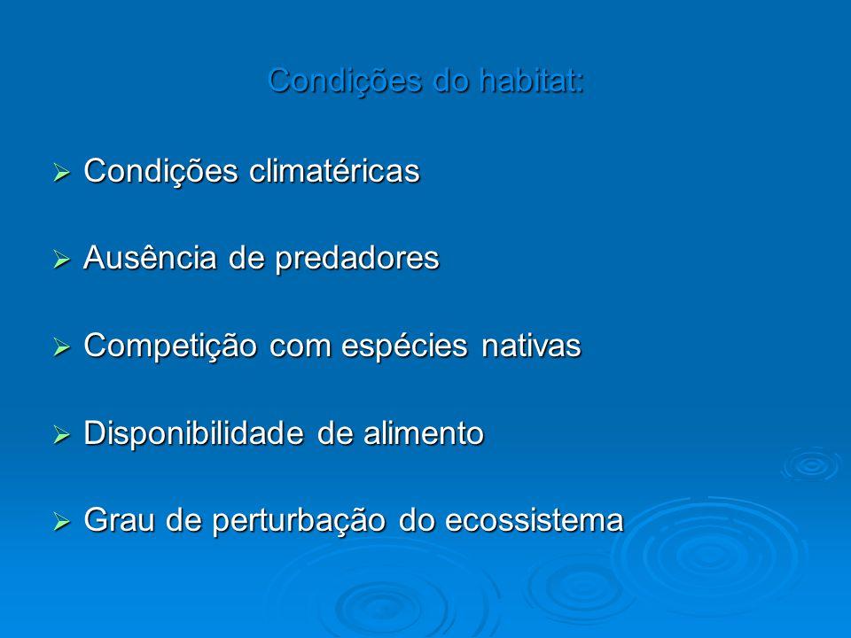 Condições climatéricas Ausência de predadores