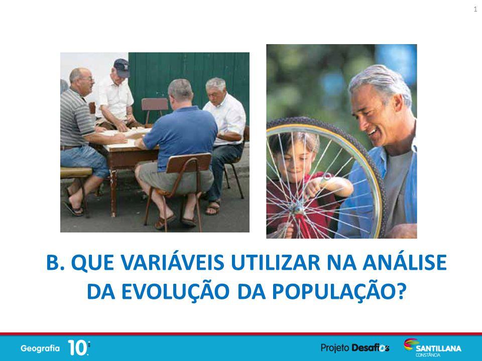 B. Que variáveis utilizar na análise da evolução da população